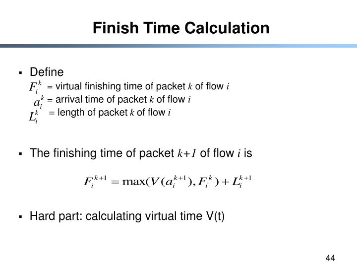Finish Time Calculation