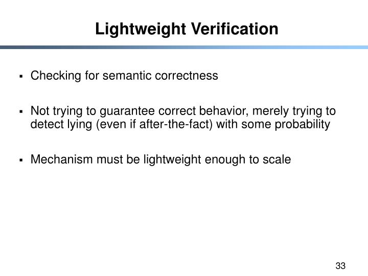 Lightweight Verification
