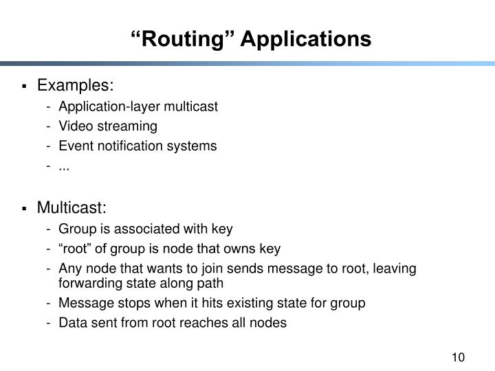 """Routing"" Applications"