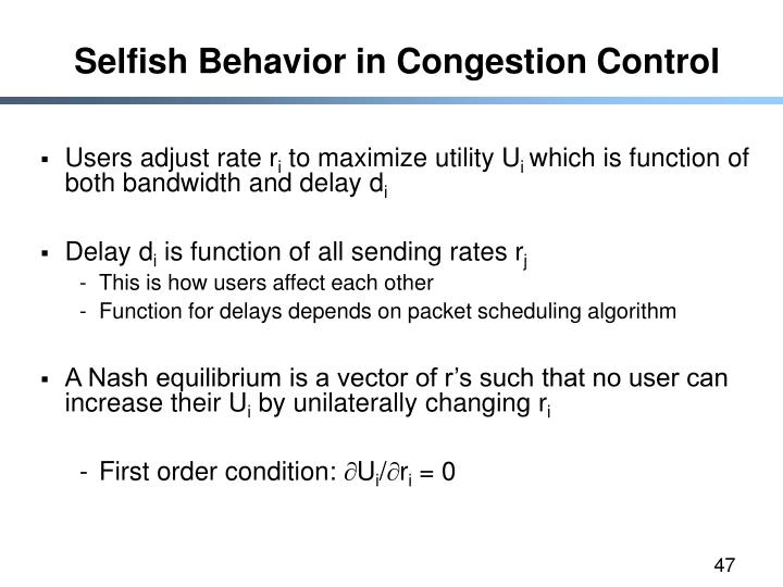 Selfish Behavior in Congestion Control