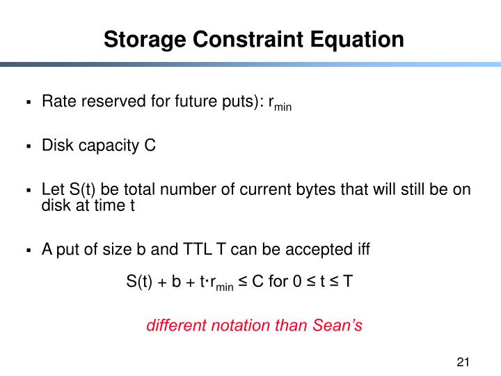 Storage Constraint Equation