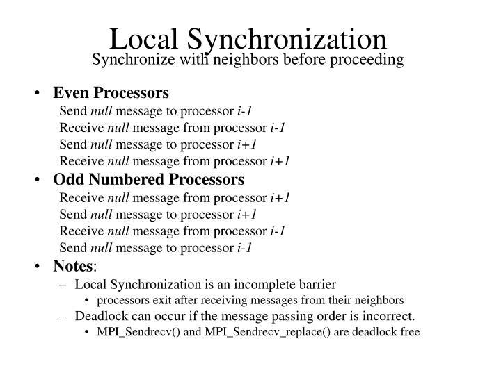 Local Synchronization