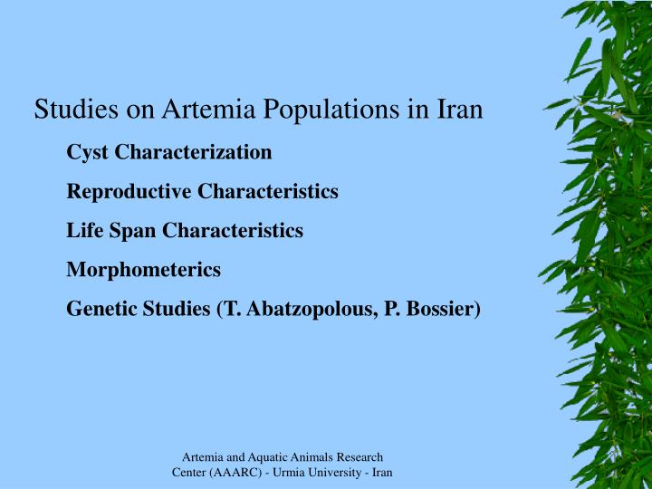 Studies on Artemia Populations in Iran