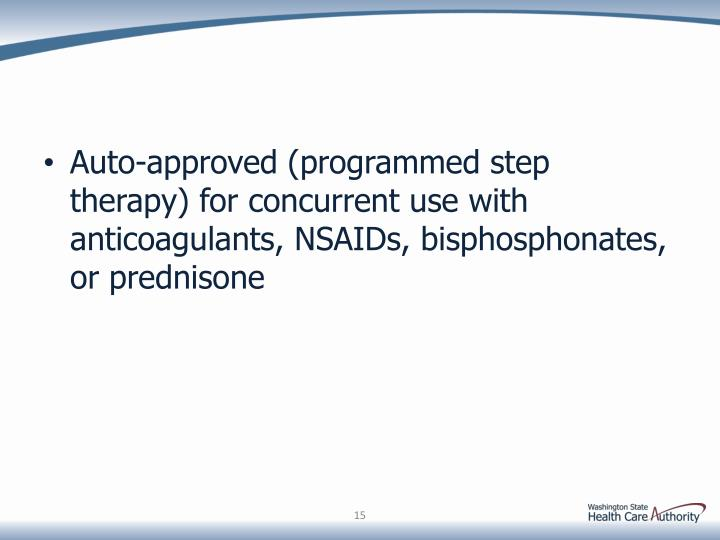 Auto-approved (programmed step therapy) for concurrent use with anticoagulants, NSAIDs, bisphosphonates, or prednisone