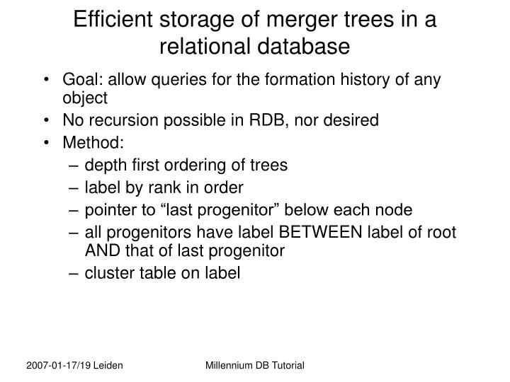 Efficient storage of merger trees in a relational database