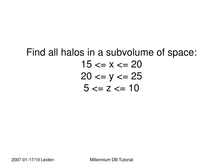 Find all halos in a subvolume of space: