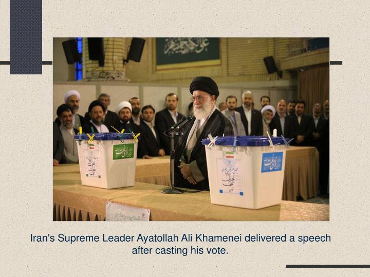 Iran's Supreme Leader Ayatollah Ali Khamenei delivered a speech after casting his vote.