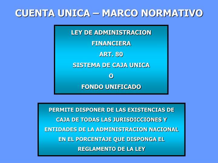 CUENTA UNICA – MARCO NORMATIVO