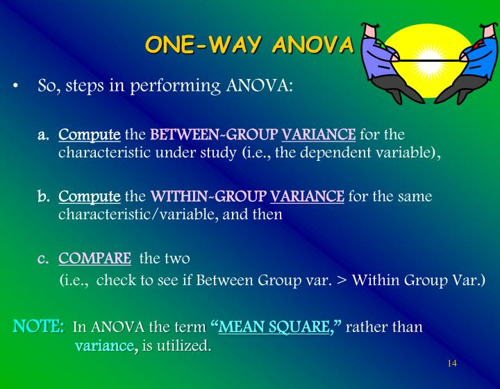 So, steps in performing ANOVA: