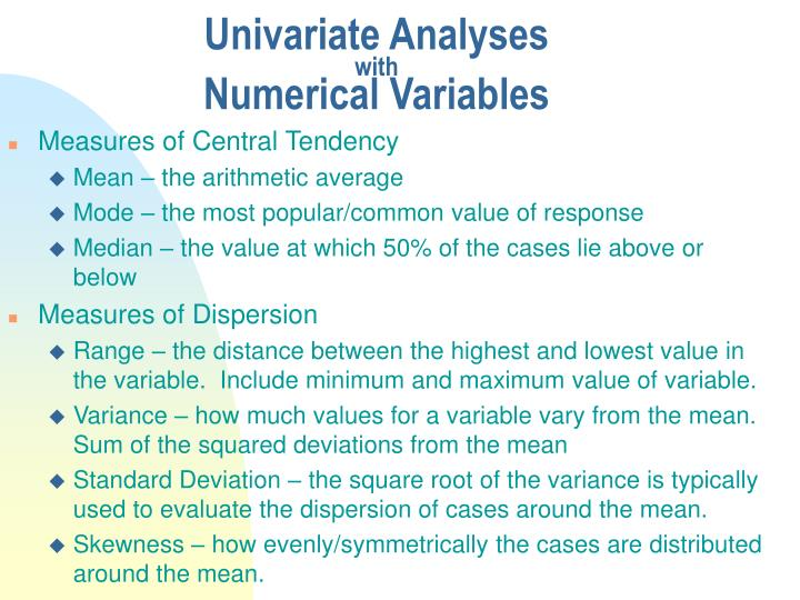 Univariate analyses with numerical variables