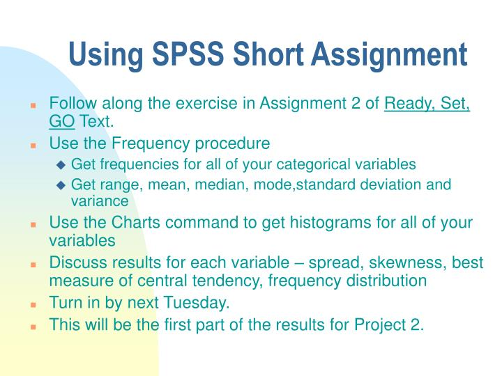 Using SPSS Short Assignment