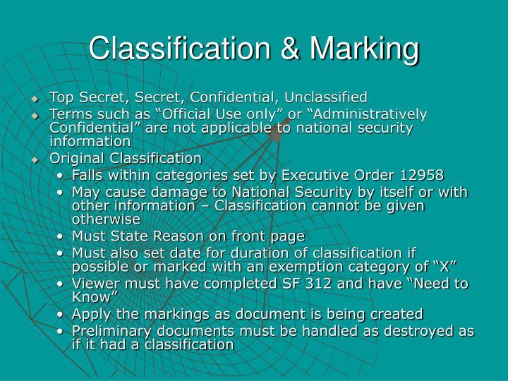 Classification & Marking