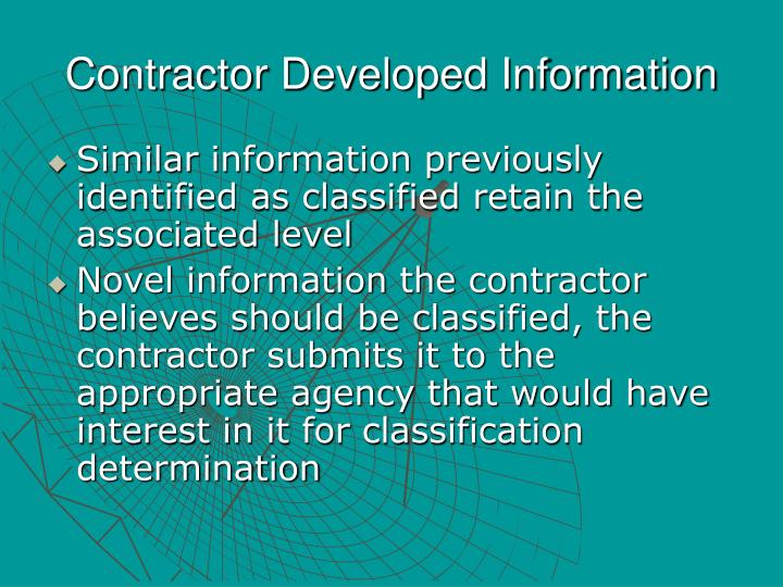 Contractor Developed Information
