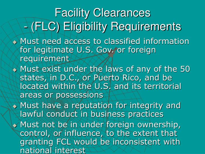 Facility Clearances