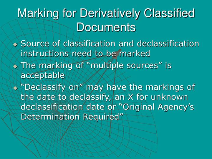 Marking for Derivatively Classified Documents