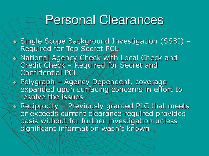 Personal Clearances