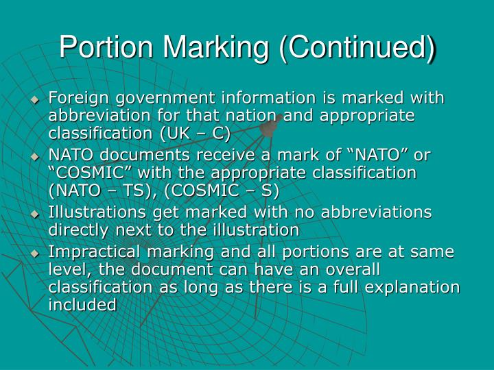 Portion Marking (Continued)