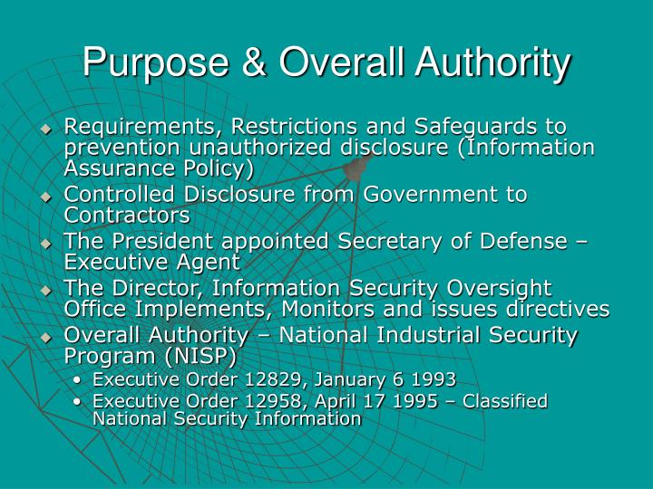 Purpose overall authority
