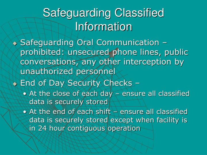 Safeguarding Classified Information