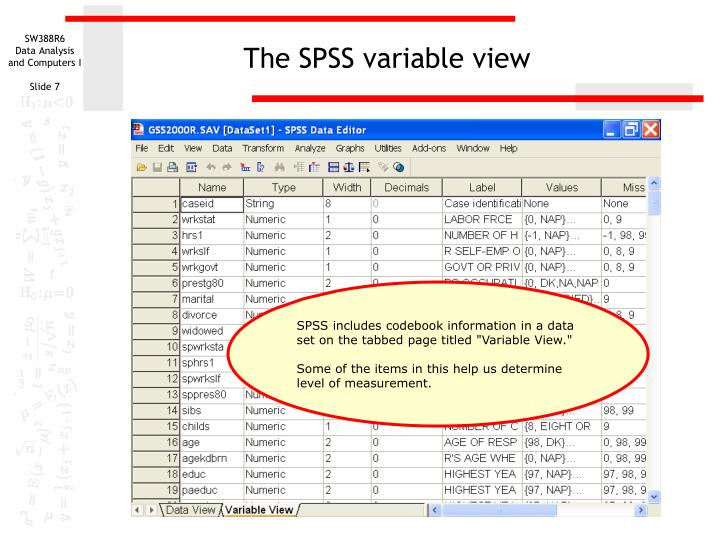 The SPSS variable view