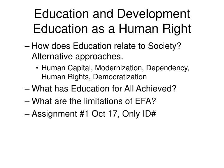 Education and development education as a human right1