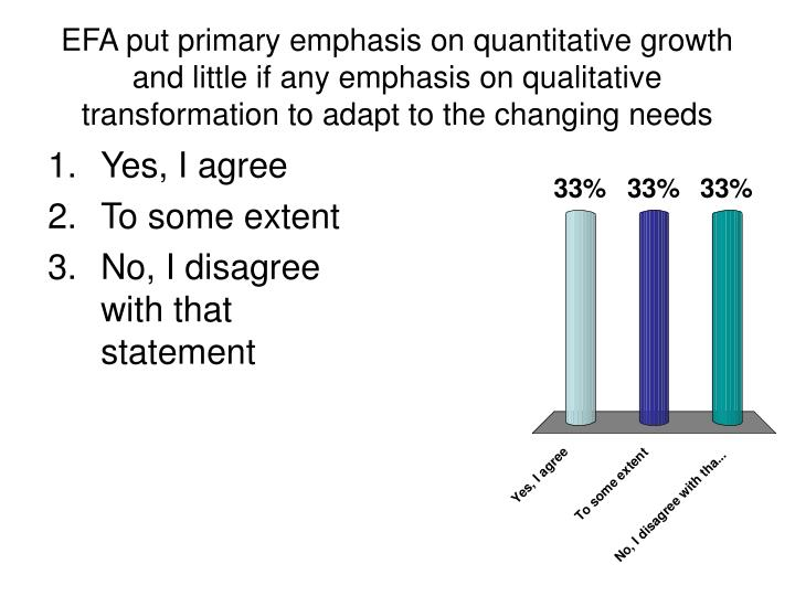 EFA put primary emphasis on quantitative growth and little if any emphasis on qualitative transformation to adapt to the changing needs