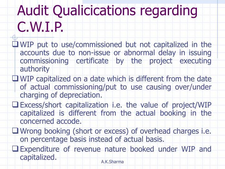 Audit Qualicications regarding C.W.I.P.