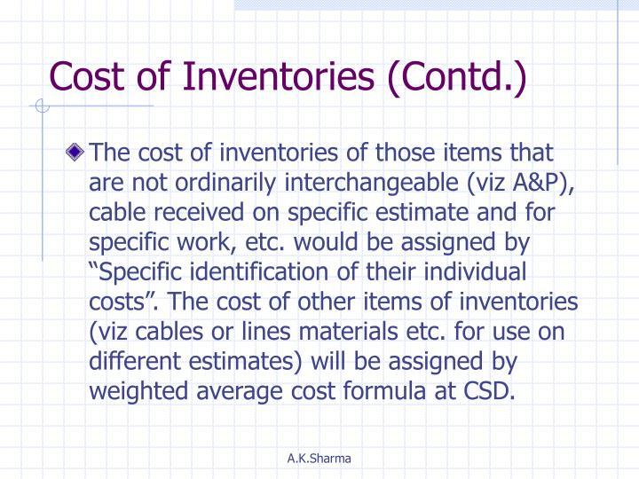 Cost of Inventories (Contd.)