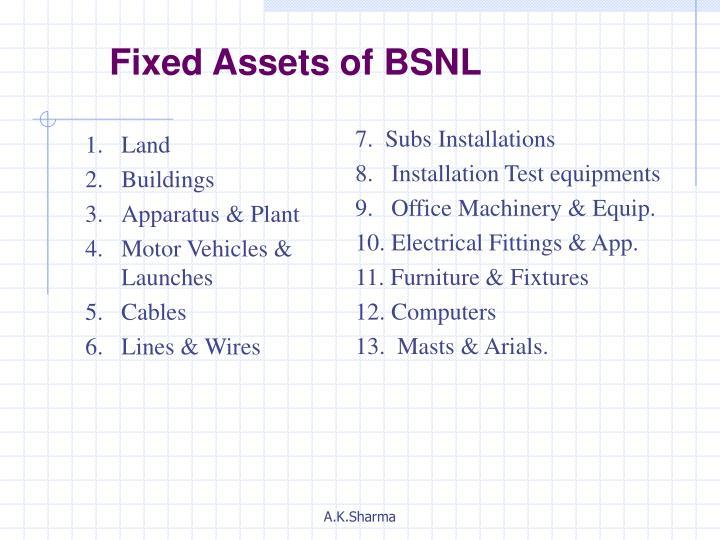 Fixed Assets of BSNL