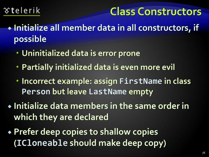 Class Constructors