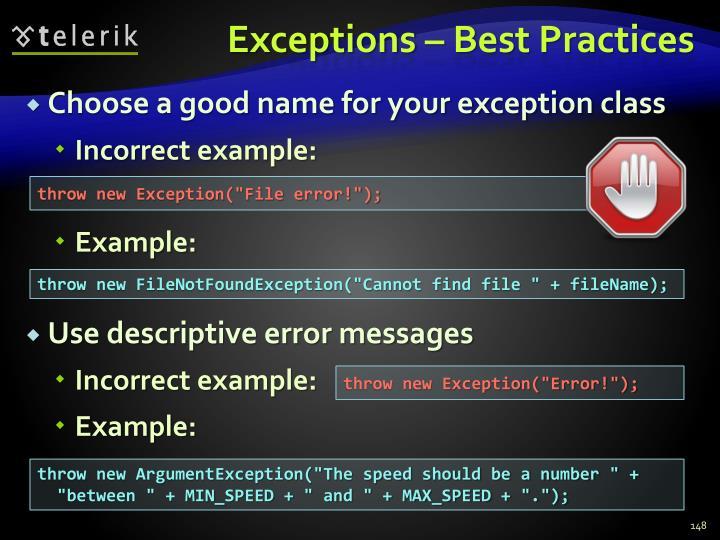 Exceptions – Best Practices