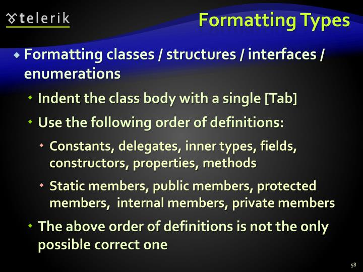 Formatting Types