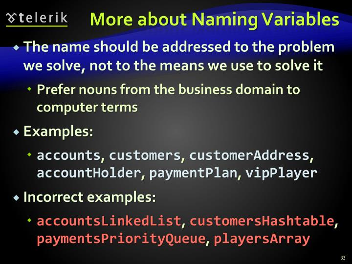 More about Naming Variables