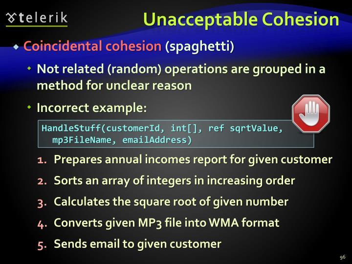 Unacceptable Cohesion