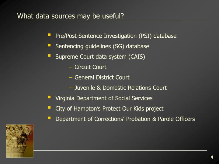 What data sources may be useful?