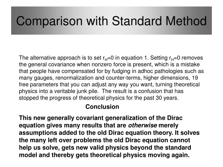 Comparison with Standard Method