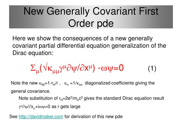 New generally covariant first order pde