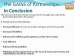 the gains of partnerships in conclusion