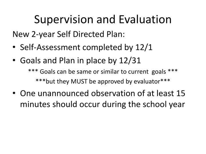 Supervision and Evaluation