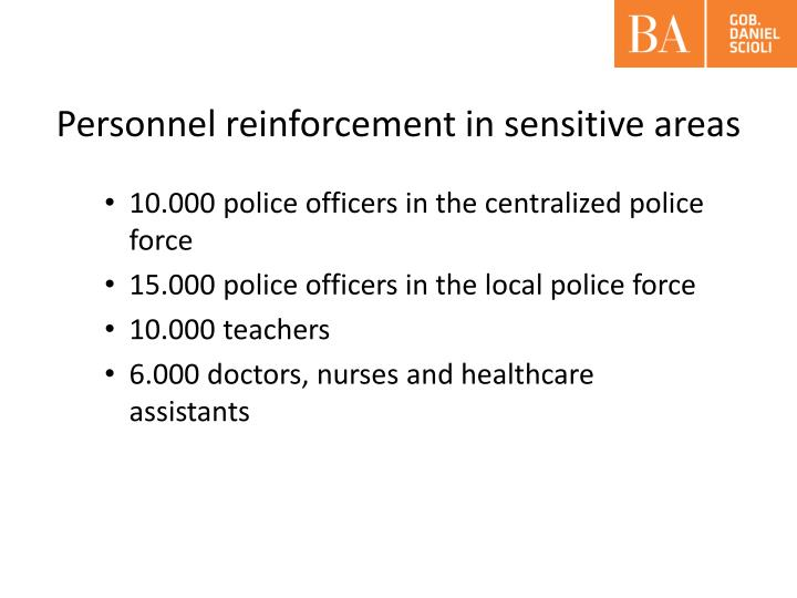 Personnel reinforcement in sensitive areas