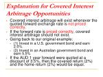 explanation for covered interest arbitrage opportunities