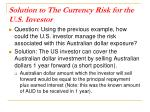 solution to the currency risk for the u s investor