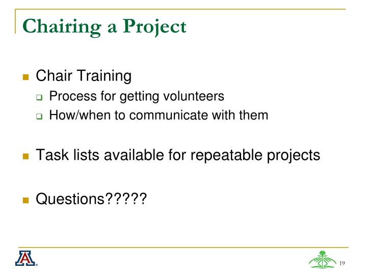 Chairing a Project