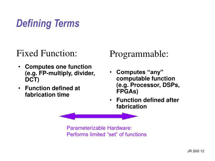 Computes one function (e.g. FP-multiply, divider, DCT)