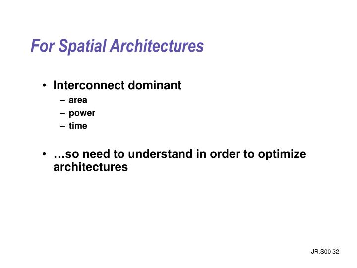 For Spatial Architectures