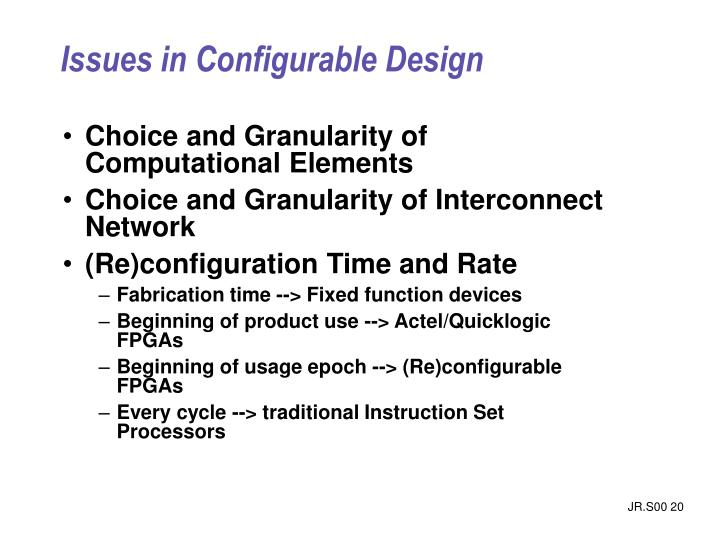 Issues in Configurable Design