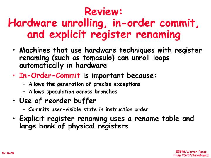 Review hardware unrolling in order commit and explicit register renaming
