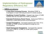 implementation of hydropower regulatory efficiency act1
