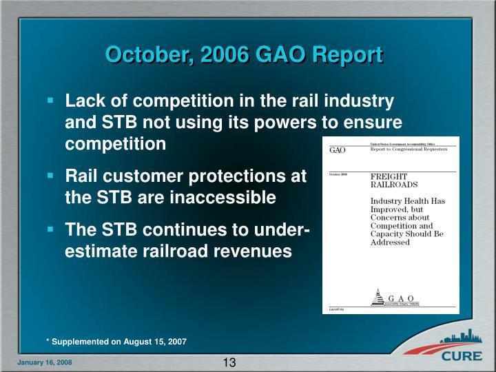 October, 2006 GAO Report