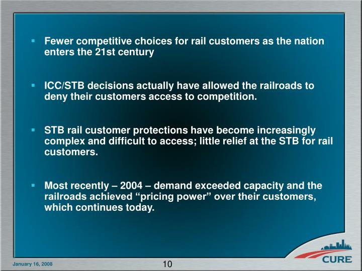 Fewer competitive choices for rail customers as the nation enters the 21st century